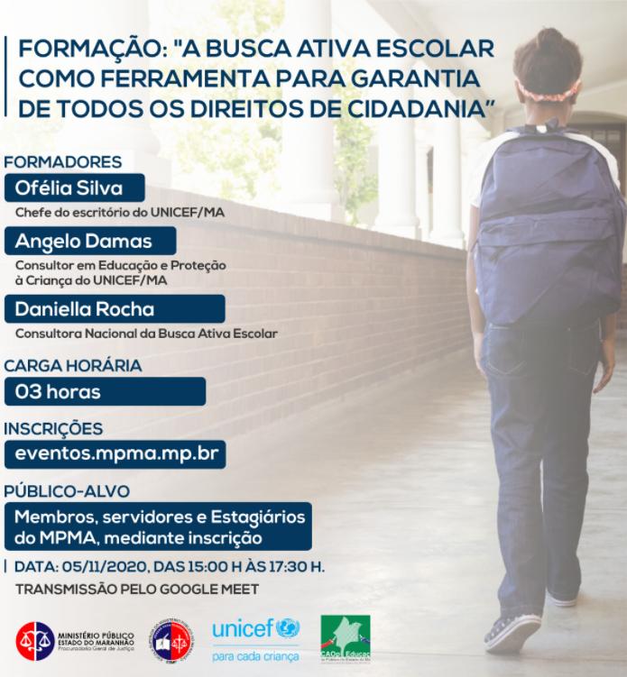 """FORMAÇÃO: """"A Busca Ativa Escolar como Ferramenta para Garantia de Todos os Direitos de Cidadania"""""""