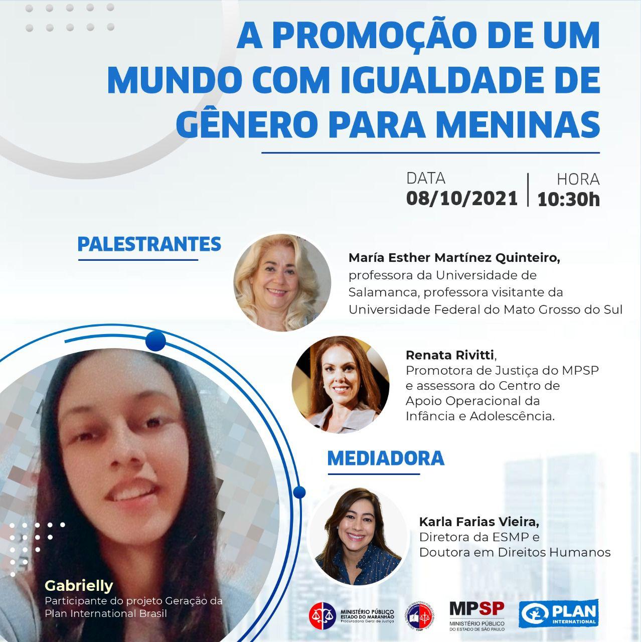 """Webinário """"A promoção de um mundo com igualdade de gênero para meninas"""" #MeninasOcupam"""
